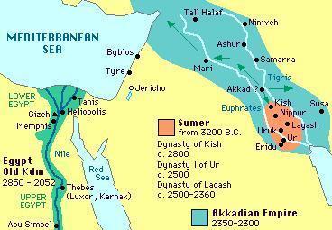 Eine frühe Karte Mesopotamiens, die Gebiete der Sumerer und Akkader abbildet