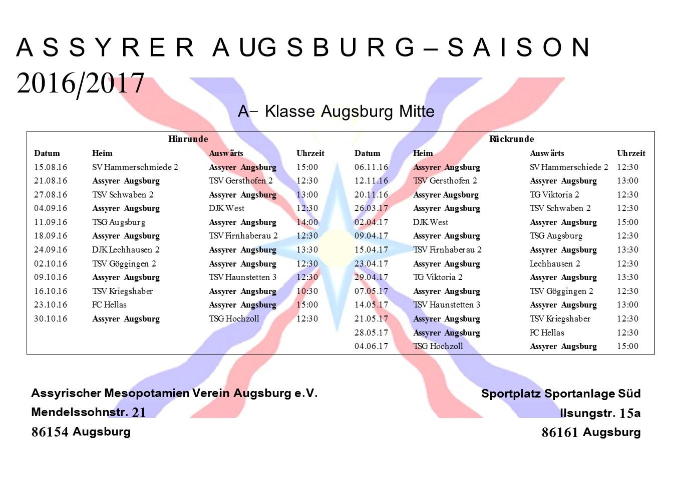 Assyrer Augsburg - Spielplan